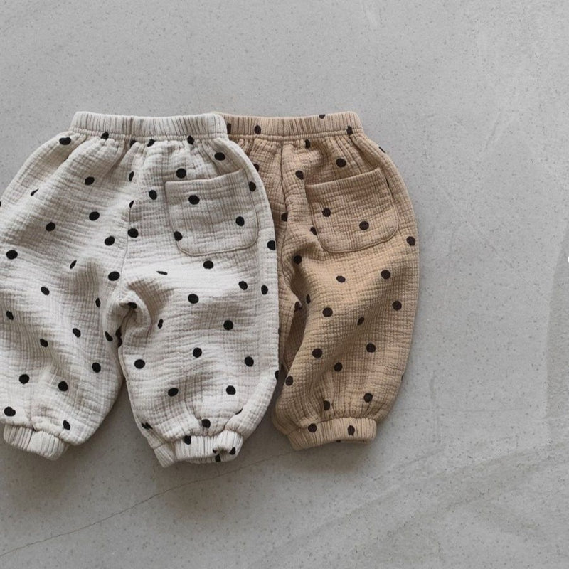 Cosmo Cotton Polka Dot Pants (Beige)