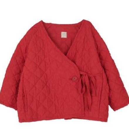 MAMA Kimono Padded Button Wrap Jacket (Red)