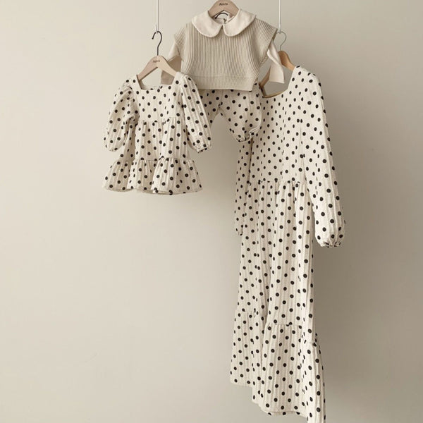 MAMA Cora Tiered Polka Dot Dress