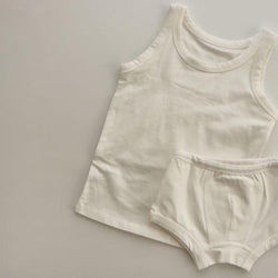 Yoro Boys Underwear Vest and Briefs Set (Ivory)