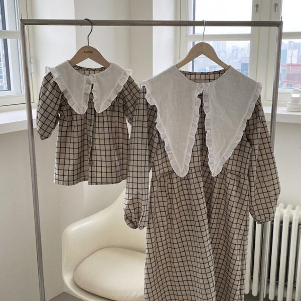 Clara Collared Button-Up Dress (Check)