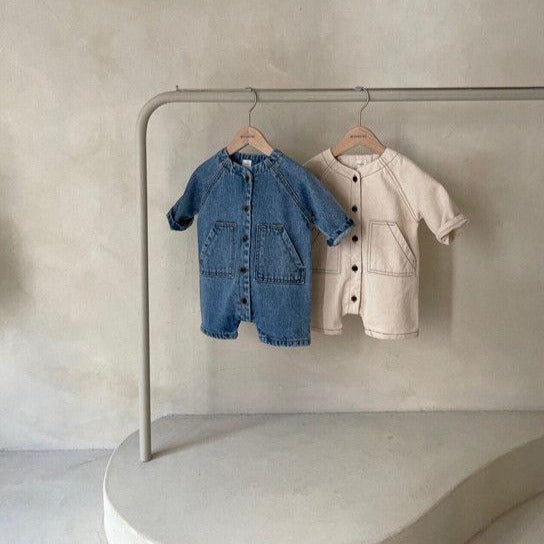 Demi Denim Romper Overalls (Blue Denim)