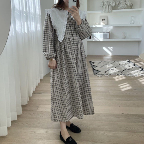 MAMA Clara Collared Button-Up Dress (Check)