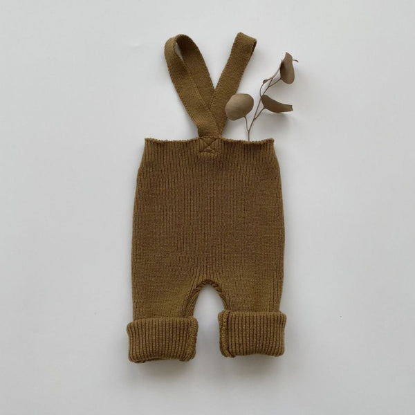 Fern Rib Knit Footless Overalls (Toffee)