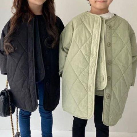 Quilted Button-Up Gilet + Coat Set (Sage)