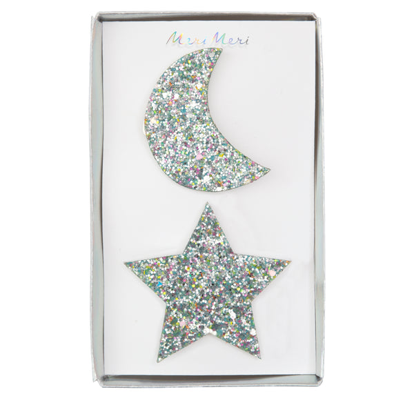 Large Star and Moon Hair Clips