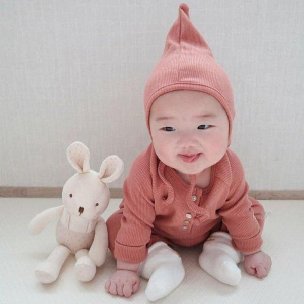 Bali Ribbed Romper and Bonnet Set (Coral)