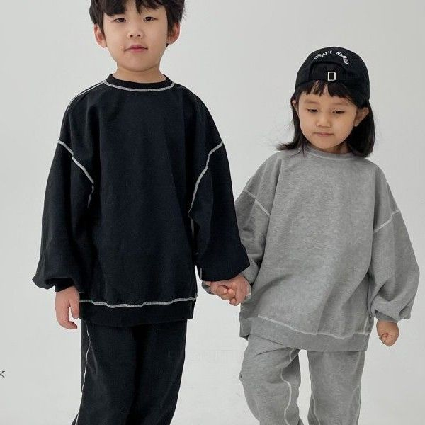 Exposed Seam Tracksuit Sweatshirt and Bottoms Set (Black)