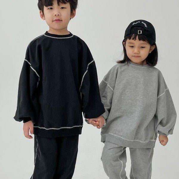 Exposed Seam Tracksuit Sweatshirt and Bottoms Set (Grey)