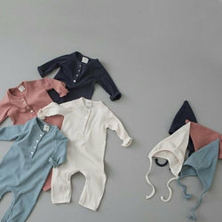 Bali Ribbed Romper and Bonnet Set (Cream)