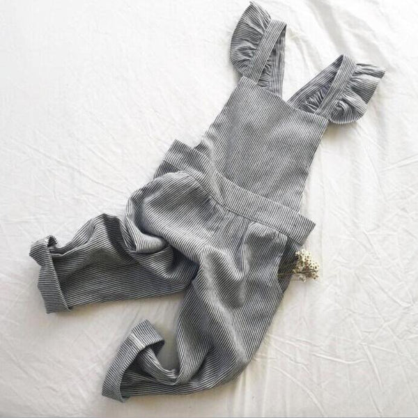 Anya Striped Frill Back Overalls (Charcoal)