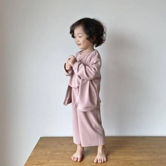 MAMA Ottie Trousers, Top and Cardigan 3 Piece Basics set (Pink)