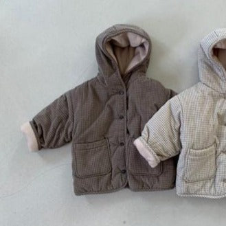 Inu Fine Corduroy Padded Hooded Check Coat (Cocoa)