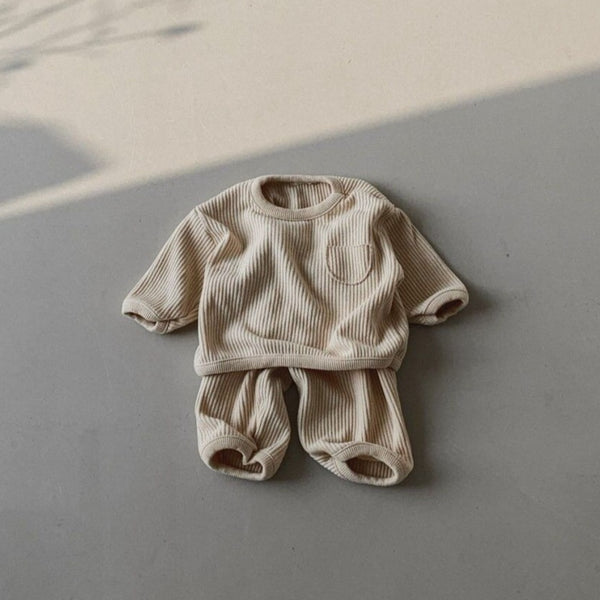 Colie Ribbed Cotton Top and Bottom Set (Cream)