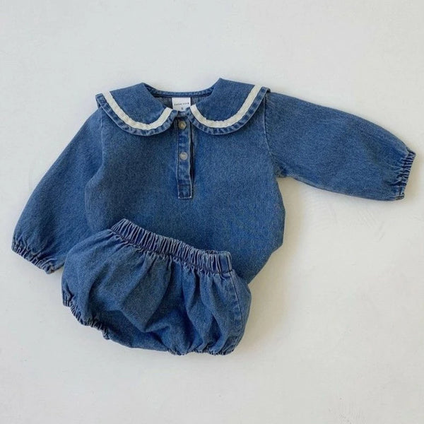 Dada Denim Collar Top and Bloomer Set