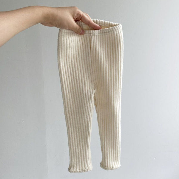 Thick Warm Rib Leggings (Beige)