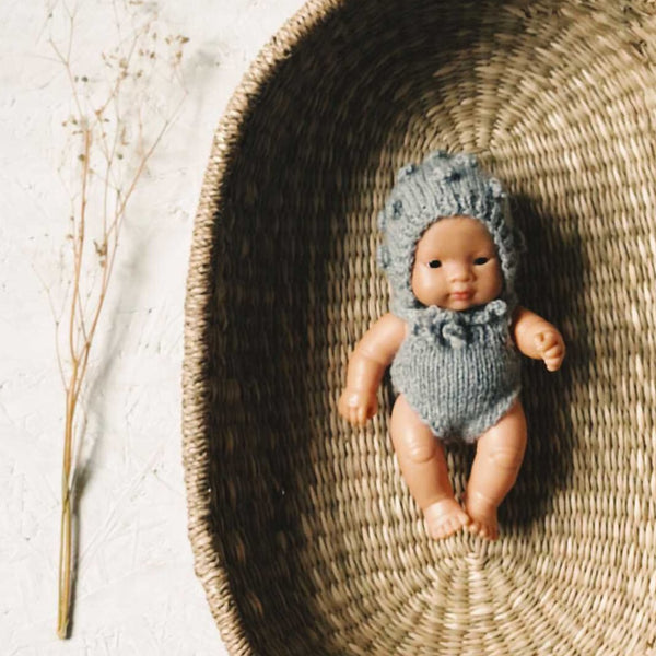 Knitted Romper and Bonnet Set for Miniland Doll (Grey Marl)