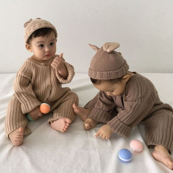 Xavi Rib Kit Button Rib Romper (Cocoa)