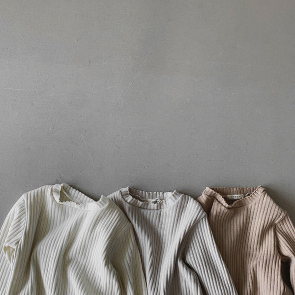 Dora Ribbed Long Sleeve Tee (Oat)