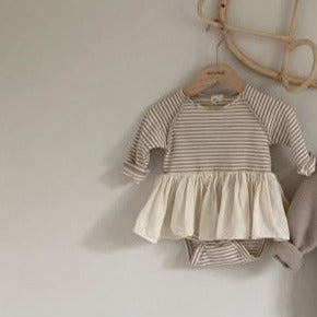 Lollie Stripe Romper Tutu Dress (Beige Stripe)