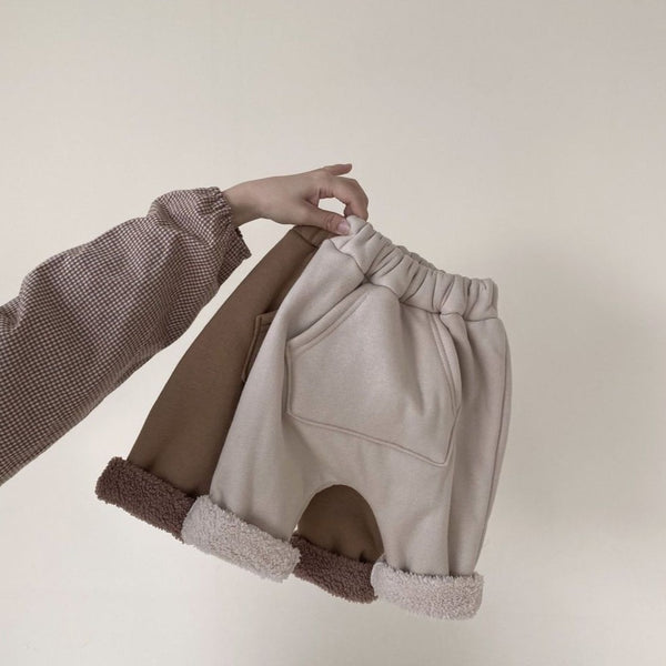Bambam Thick Teddy Track Pants (Beige)
