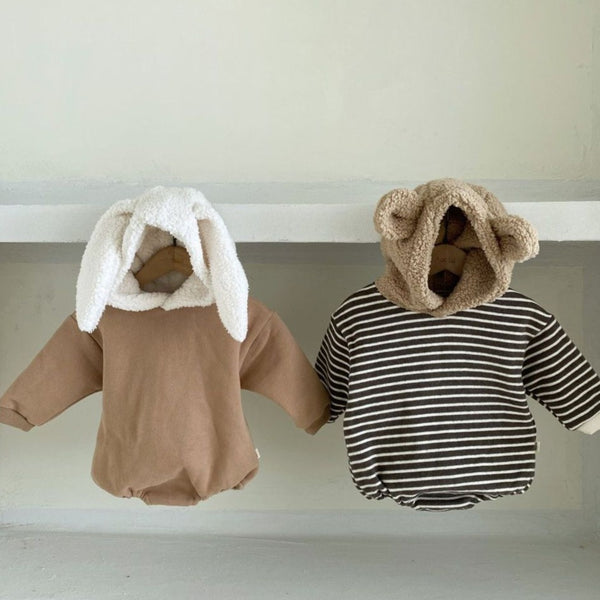 Rabbit Bunny Ears Hood Bodysuit Romper