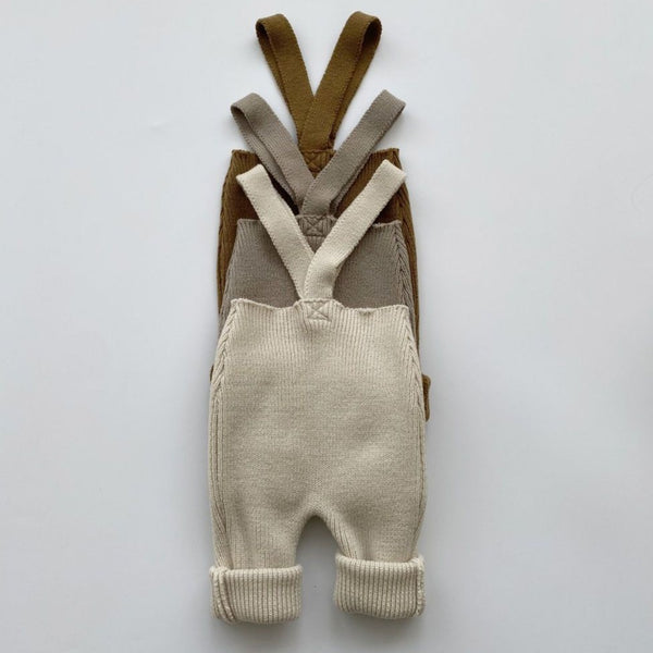 Fern Rib Knit Footless Overalls (Ivory)