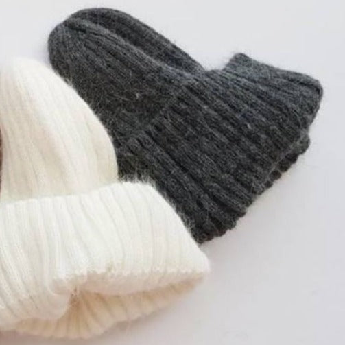 Angora Fluffy Ribbed Beanie (Charcoal)