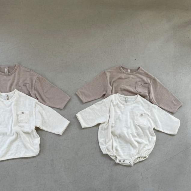 Fifi Long Sleeve Cotton Baby Romper (Ivory)