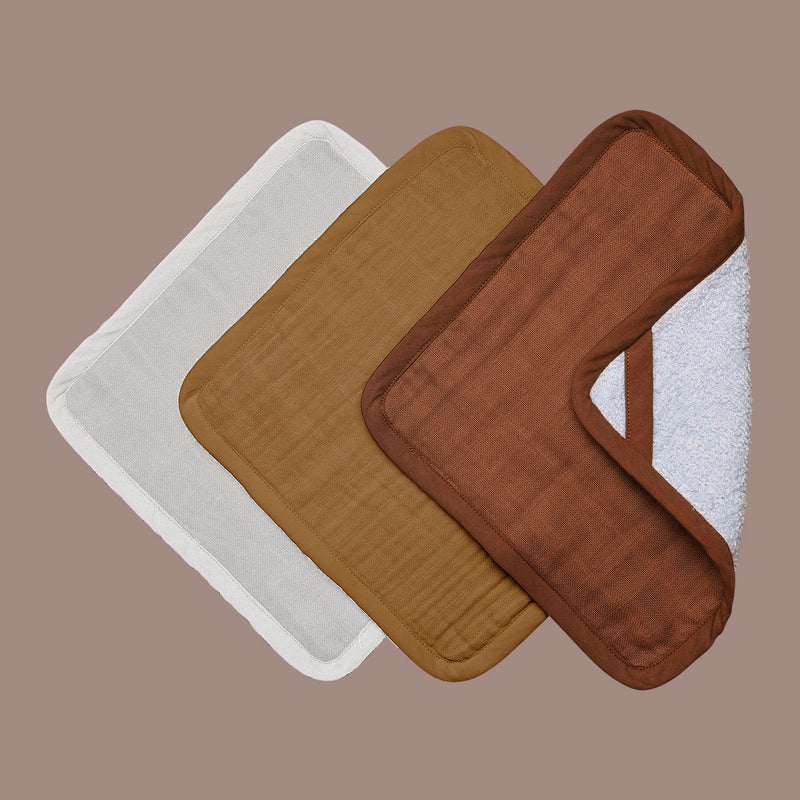 Rust Organic Square Washcloths, 3 Pack