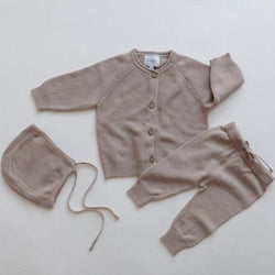 Lola Knitted Cardigan, Trousers and Bonnet 3 Piece Set (Hazelnut)