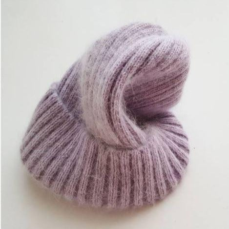 Angora Fluffy Ribbed Beanie (Pale Yellow)