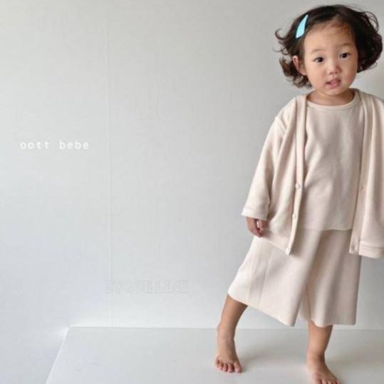 Ottie Top + Bottom + Cardigan 3 Piece Basics Set (Cream)