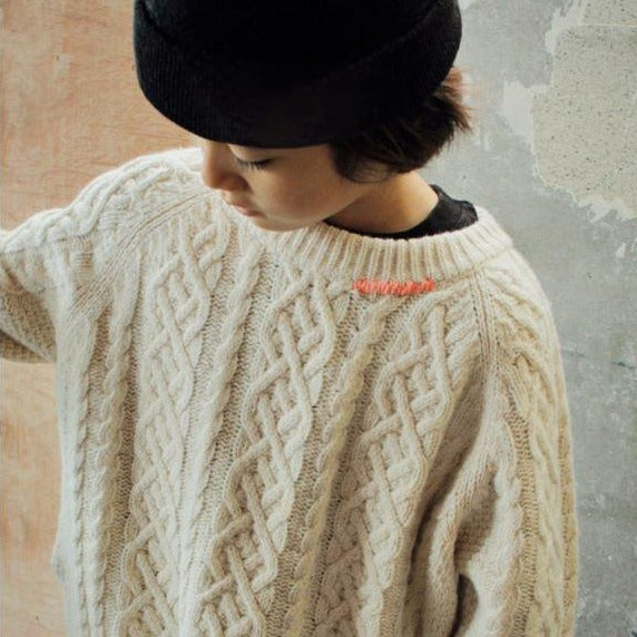 Stitch Cable Knit Oversize Jumper (Cream)