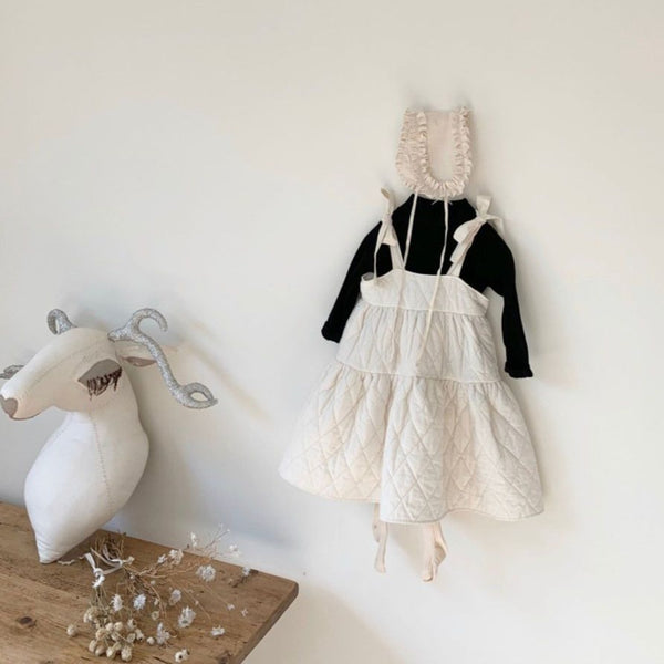 Coco Quilted Pinafore Bow Dress (Ivory)