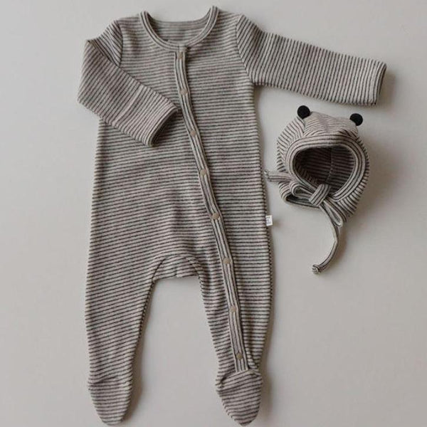 Rory Striped Romper and Bonnet Set (Stone)