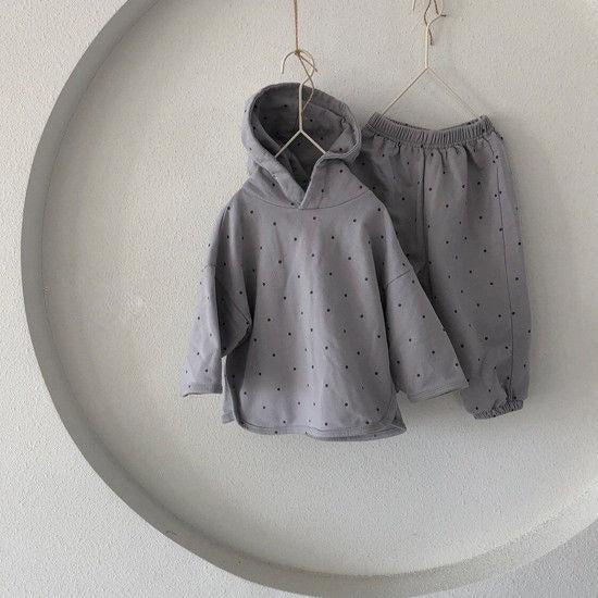 Ivy Polkadot Tracksuit Hoodie and Bottoms Set (Grey)