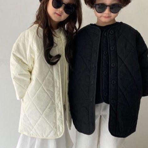 MAMA Quilted Button-Up Gilet + Coat Set (Cream)