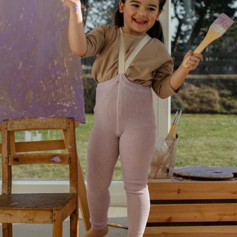 Silly Silas Footless Unisex Rib Tights with Braces (Creamy Lavender)