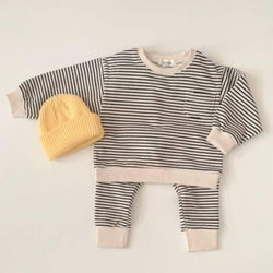 Neve Stripe Tracksuit Top and Sweatpant Set (Black)