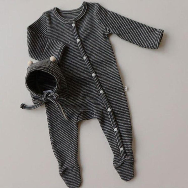 Rory Striped Romper and Bonnet Set (Charcoal)
