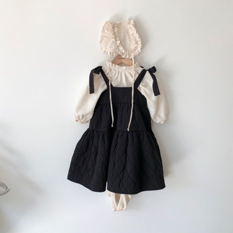 Coco Quilted Pinafore Bow Dress (Black)