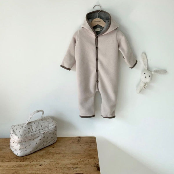 Handmade Fleece Foldable Cuff Romper Coat Pramsuit (Blush)