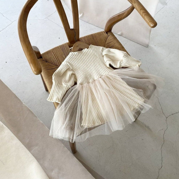 Rie Warm Rib Tutu Dress (Beige)