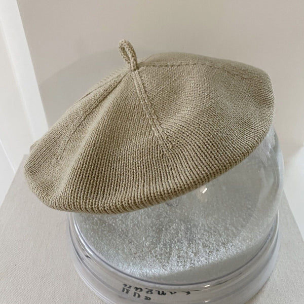 Knitted Beret Hat (Olive)