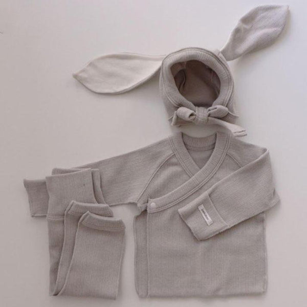 Bonnie Top, Leggings and Bunny Bonnet Set (Pale Grey)