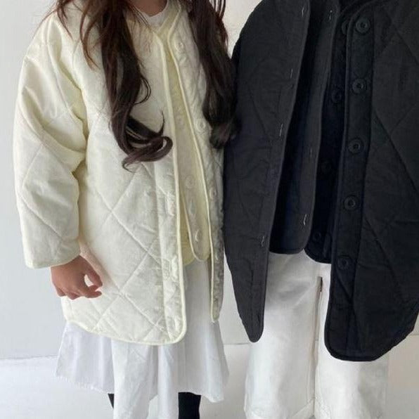 Quilted Button-Up Gilet + Coat Set (Cream)