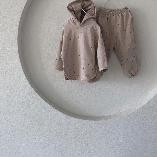 Ivy Polkadot Tracksuit Hoodie and Bottoms Set (Oatmeal)