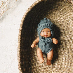 Knitted Romper and Bonnet Set for Miniland Doll (Ocean Blue)