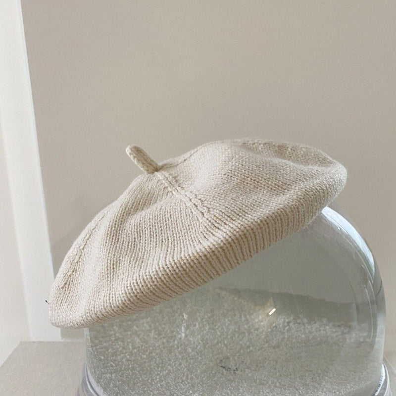 Knitted Beret Hat (Ivory)